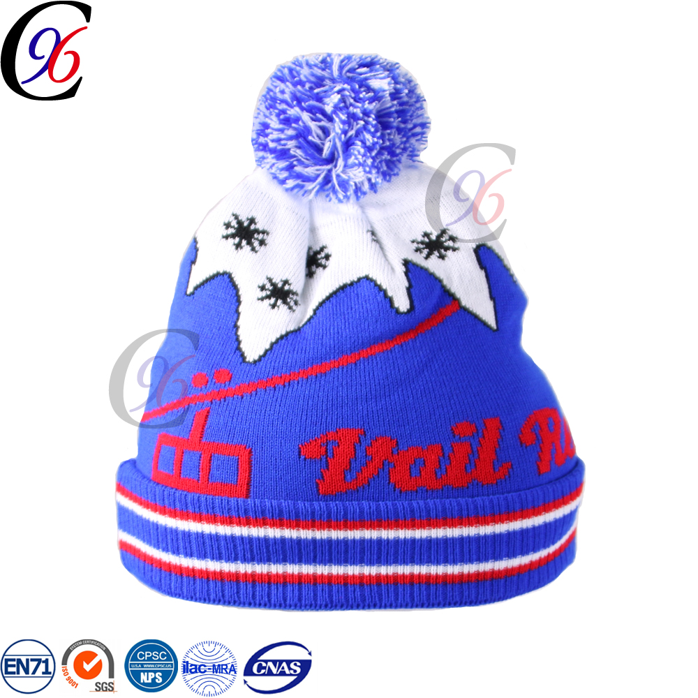 Chengxing customized design knitted fashion beanie ski sport outdoor keep warm acrylic wholesale winter hat