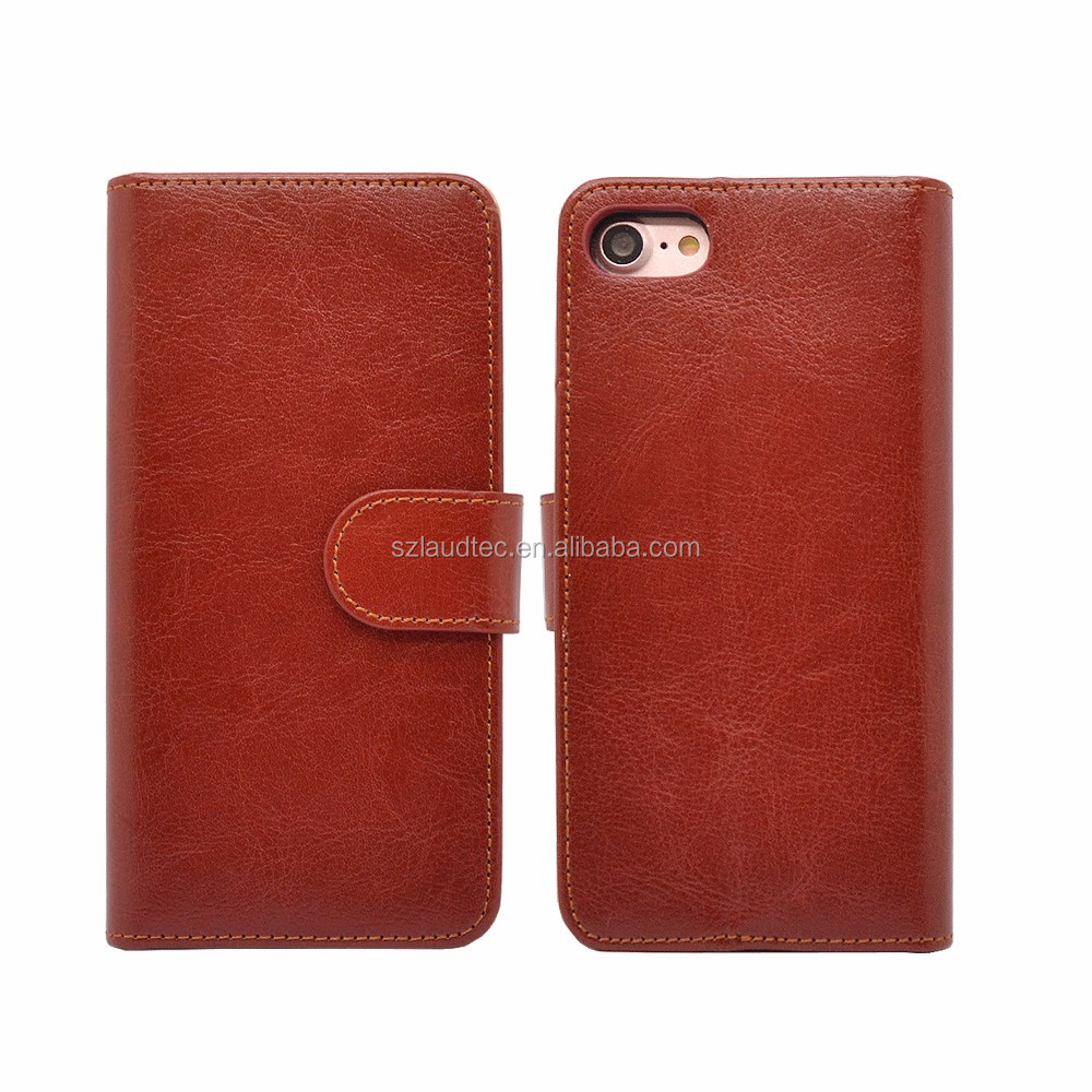 Crazy Horse Skin Wallet Flip Leather Case for iPhone7 and for iPhone7 Plus