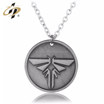 Custom Logo Antique Silver Metal stainless alloy Necklace