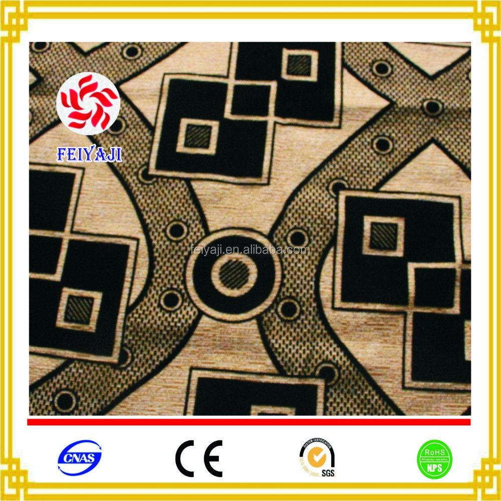 New Design Flocked Square Pattern Sofa Cover Fabric For Fabric Textile