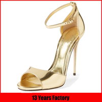 hot sale top stylish new popular party wear elegant high quality golden color ladies fancy high heel sandals shoes women