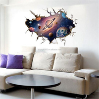 Outer Space Astronauts Spaceman Dream 3D Wall Hole View Sticker Scenery Home Decor