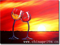 2014 Best Price Handmade Glass Cups Oil Painting
