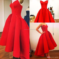 Red Vintage Hi-Lo Prom Dresses Simple Modest A-line Evening Party Gowns Sexy Sweetheart Zipper red short evening dress CYP-004
