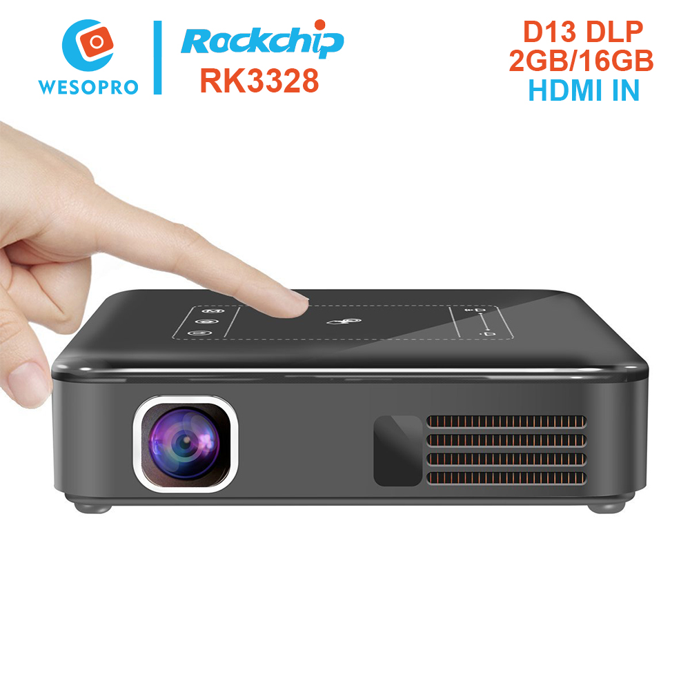 Newest D13 OEM 150 ANSI Lumens DLP 400w led projector light with RK3328 2GB RAM 16GB ROM Android 7.1 WIFI HDMI IN port