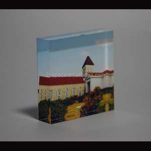 custom acrylic glass 8x10 picture block transparent Acrylic thick Photo Frame block 5X7 inch photo album