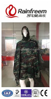 OEM rain square poncho polyester nylon add edge huge size camouflague forest adult waterproof rainwear