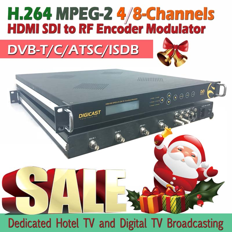 (DMB-9581) 1/2/4/8 Channels H.264 HD DVB-T RF Modulator For Hotel Digital TV Broadcasting System