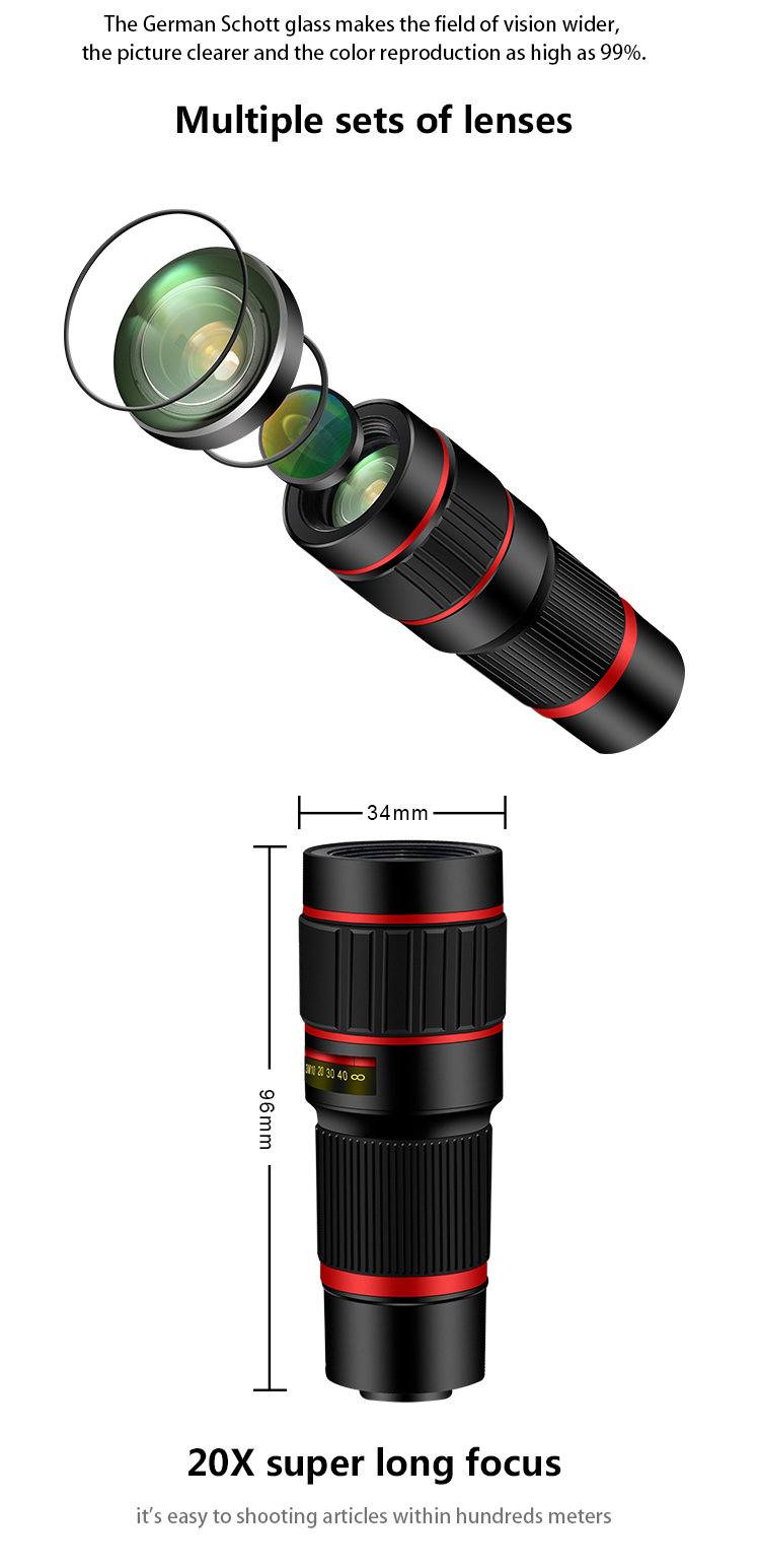 20X Telephoto Lens with Tripod,Mobile Phone HD Telescope Zoom Lens Kit with Remote Shutter for iPhone Samsung