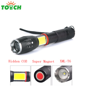 whole selling tactical led torchlight rechargeable battery power source zoomable aluminum led flashlight with super magnet
