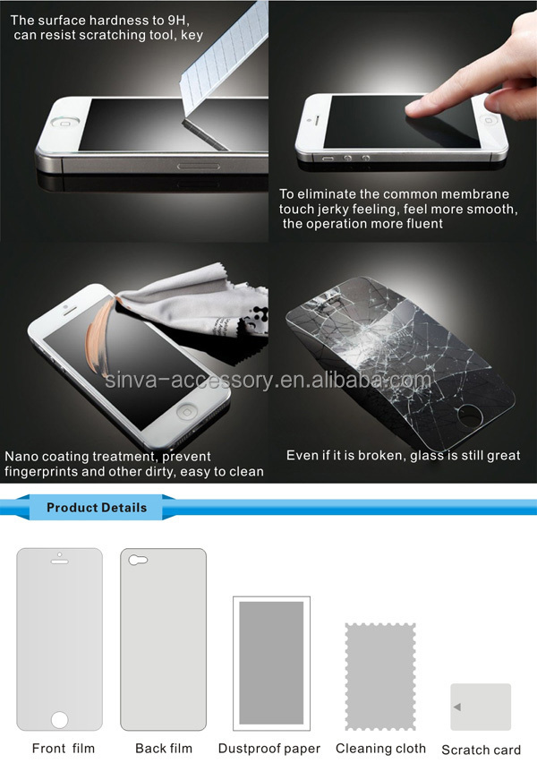 sinva factory New arrival Explosion proof 9H hardness 0.33mm Tempered Glass Privacy Screen Protector for iphone 5/ 6 4.7