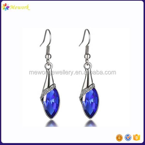 Oval bule diamonds Anti allergy metal gold hanging earrings
