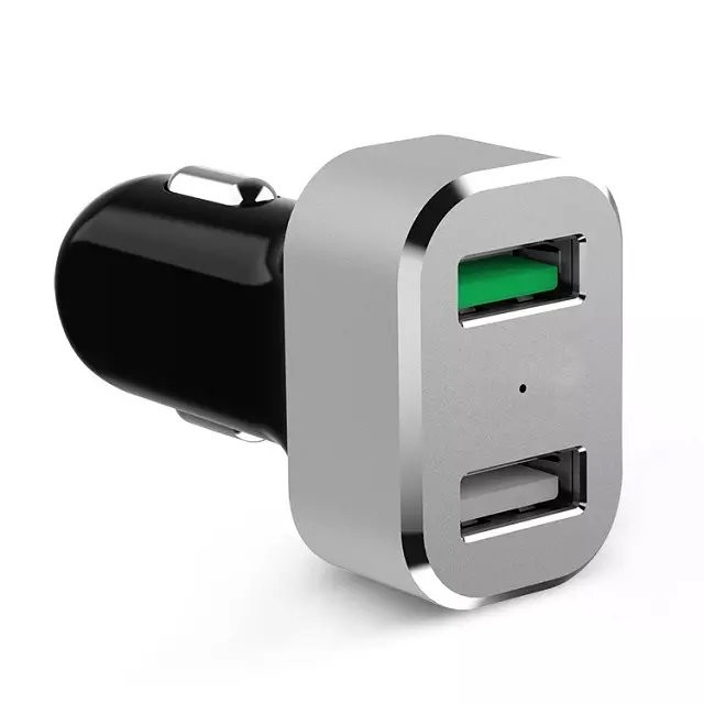 Quick charger 2.0 dual USB car charger with type C