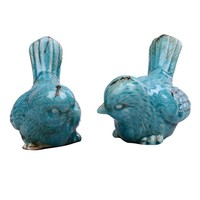 Best selling products 2pcs miniature blue ceramic craft love birds figurines