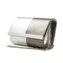 Unique design fluorescent leather chain clutch wallet