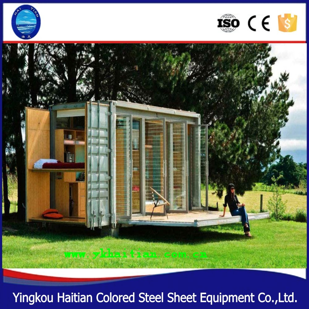 Folding 20ft prebuilt container bunk houses expandable prefabricated steel container home for sale in China