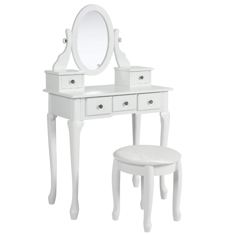 White Dressing Table Makeup Desk with Stool / 5 Drawers and Oval Mirror Bedroom / cheap Dressing Table