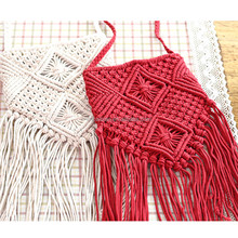 Fashion White Handmade Cotton Rope Hollow Out Woven Tassel Bag Trend Women's Handbag Straw Shoulder Bag For Ladies