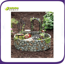 Polyresin miniature garden chair set