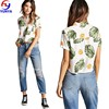 New arrival women summer fashion 100% rayon fruit and leaf print crop top shirt