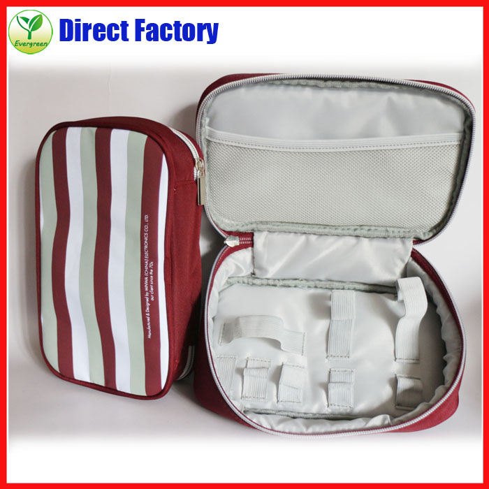 Personalized Red stripe polyester travel cosmetic bag
