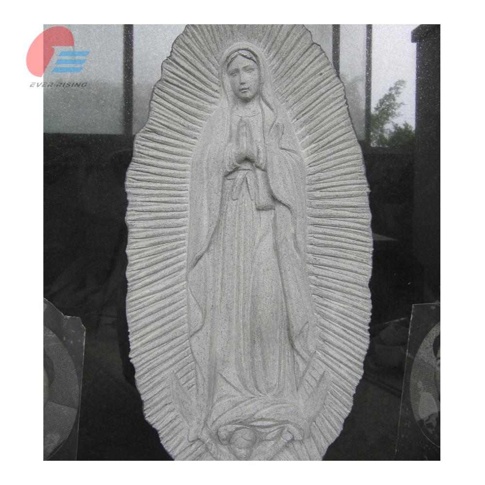 China Black Granite Virgin Mary Deep Carving Tombstone & Monument with Etching