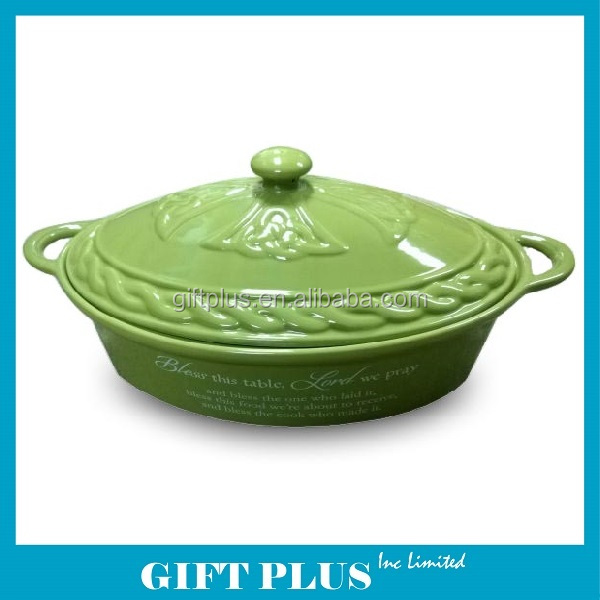Stoneware Ceramic Food Safe Cookware Casserole Dish with Lid
