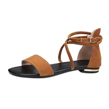 MERUMOTE Women Flats Shoes Leather Cross Strap Casual Flats Sandals