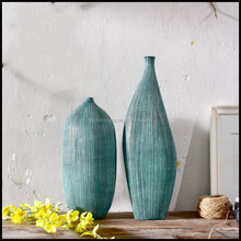 New Mediterranean Style Resin Artistic Vases With Blue Color Unique Shape Vase For Customized Size