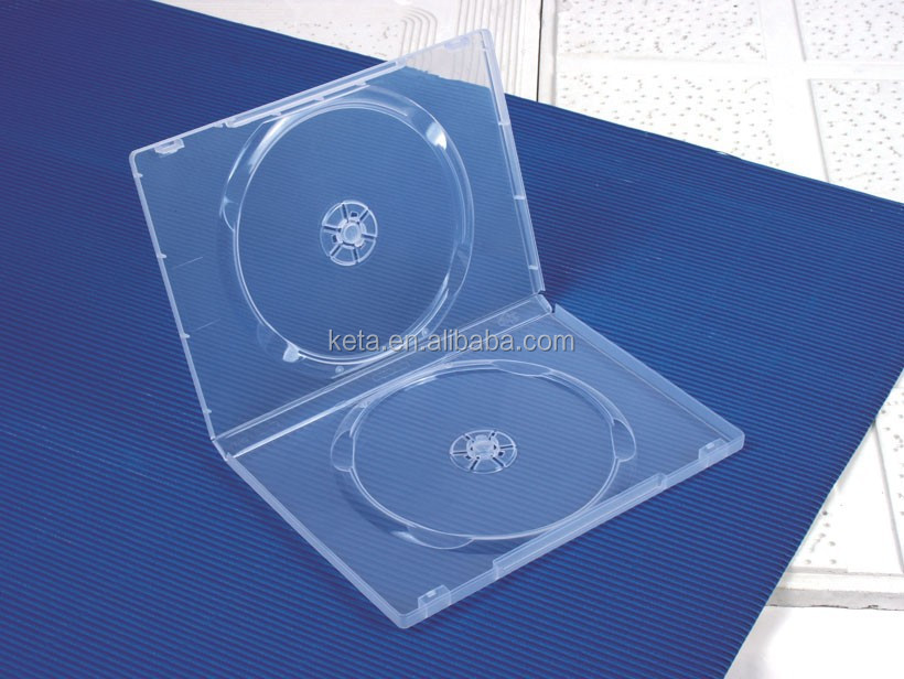 Standard Thickness 14mm Transparent Long DVD Case For Double Disc