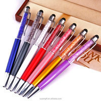 FREE SHIPPING 1000pcs/lot metal crystal writing ballpoint pens with clear plastic box