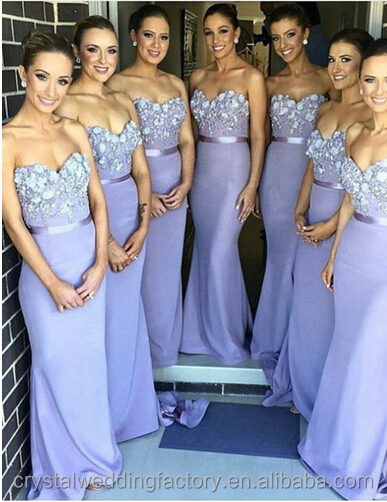 Charming Party Dress Beading 2016 Sexy Appliqued Long Lavender Mermaid Bridesmaid Dress LB2303