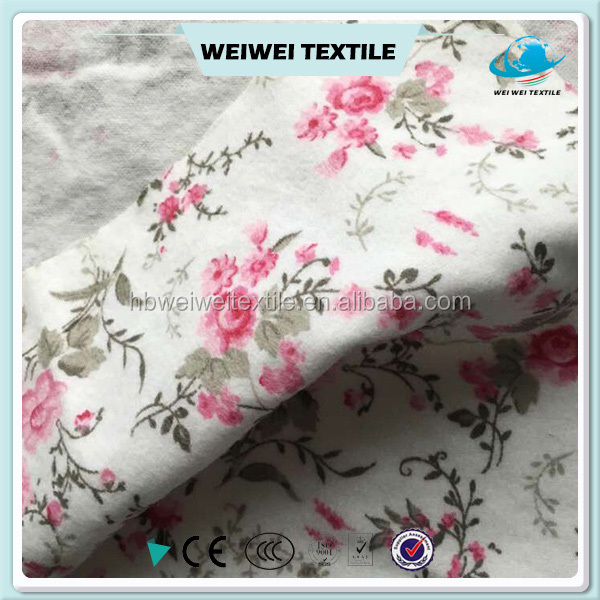100 cotton reactive rose printed flannel fabric for bed sheet