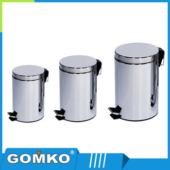 Round stainless steel pedal garbage can with soft close cover