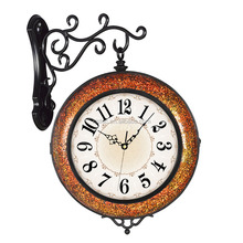 Black + gold glass Metal/mosaic antique double faced wall clock