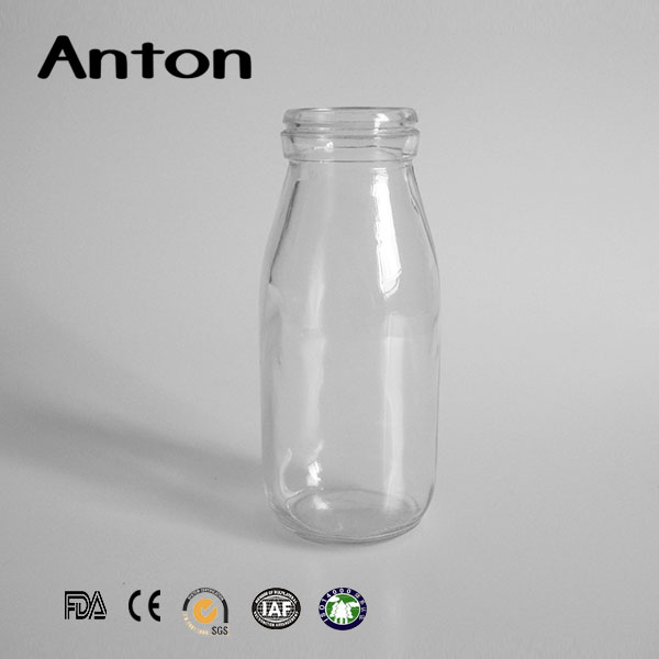 250ml empty clear round hot-sale milk drinking glass bottles