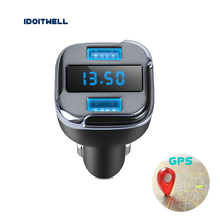 GPS locator Car Hunter car charger Dual USB Phone Charger APP remote car location detector with lED display for ihpone samsung