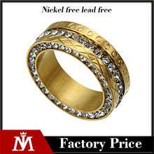 Fashion 18k Gold Plated Luxury Pure Crystal Stainless Steel Wedding Rings for Women Jewelry