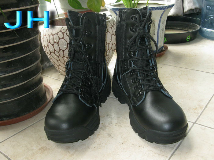 high quality military boots- army high boots shoes --black army military safety boots-