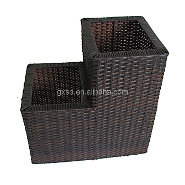 2016 new design brown square shaped siamesed garden flowerpot