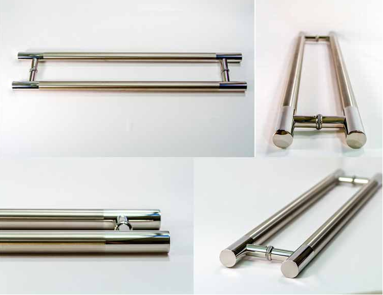 Stainless steel glass door handle with factory price of pull handle with round tube