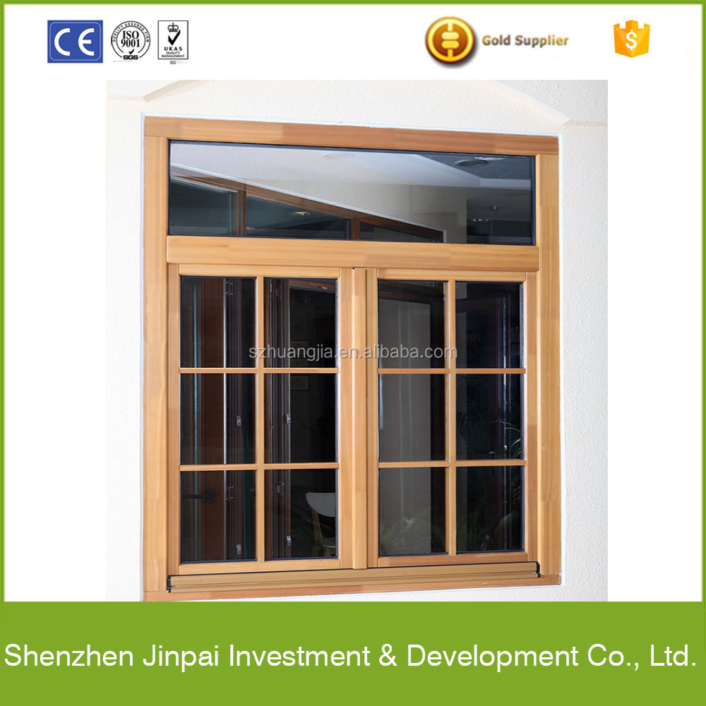 interior solid wood window grill design with tempered glass
