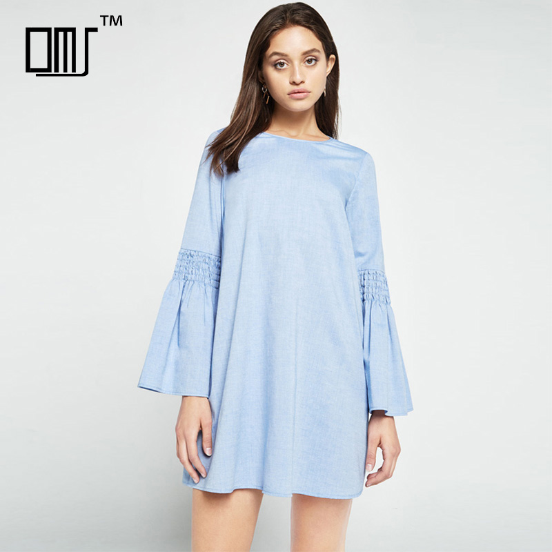 Peasant retro chic smocked bell sleeve cotton chambray short shift dress