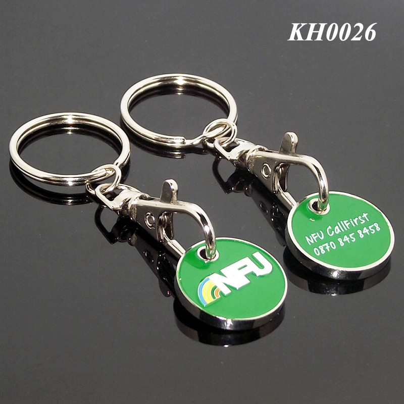 Supermarket Promotional Customized Printing Engraved Metal Trolley Coin Keyring
