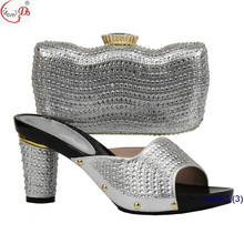 NIgerian style Bridal wedding shoes match bag 2018 popular gold crystal slipper and bag