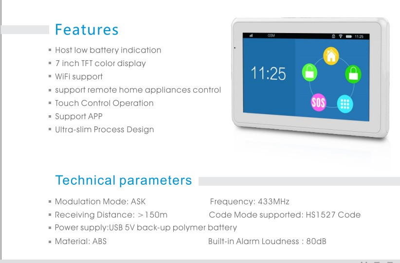 7 inch large screen TFT color display WIFI and GSM alarm system for smart home application (KR-K7)