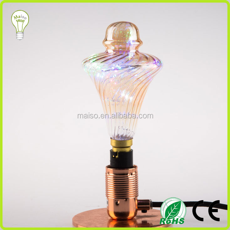 Colorful LED Light Fashion lamp 110-240V 1.5W filament glass decor bulb Copper Wire Bulb