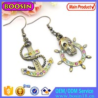 Retro Brass Metal Corsair Anchor Skill Earring Jewelry Asia Drop Earring 2015 Wholesale # 2890