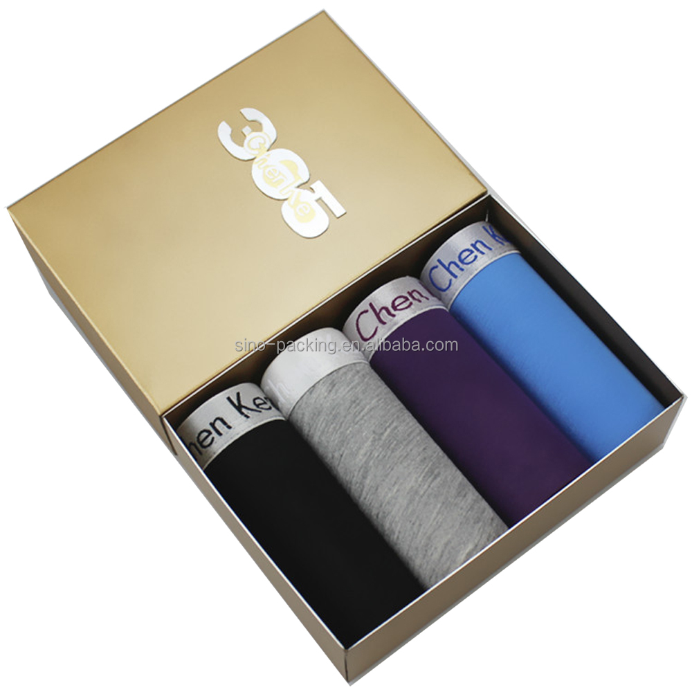 Custom logo printed men's underwear packaging paper box