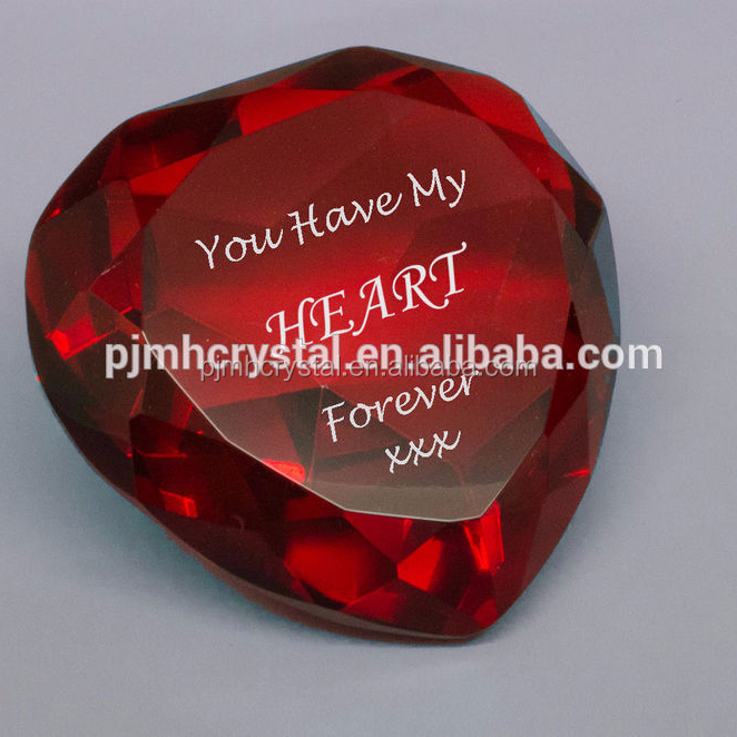 Optical Crystal Glass Red Heart Diamonds for Wedding Return Gifts MH-BQ0026